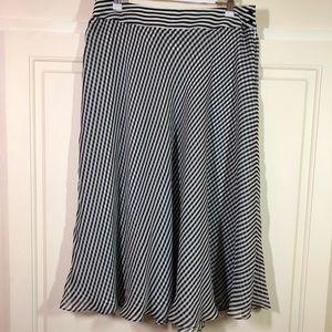 Jones New York Black White Midi Silk Skirt Sz 8